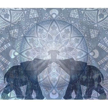 Blue Elephant Kiss Tapestry Wall Hanging Tie Dye Elephant Peace Be With You