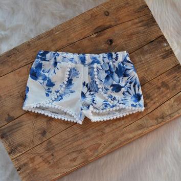 Baby Coachella Shorts, baby shorts, floral, blue, beach shorts, shorts with trim, pom trim, handmade, baby gift