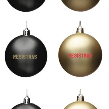 24 Ornament Megapack of Resistmas Holiday / Christmas Ornaments in Gold and Black