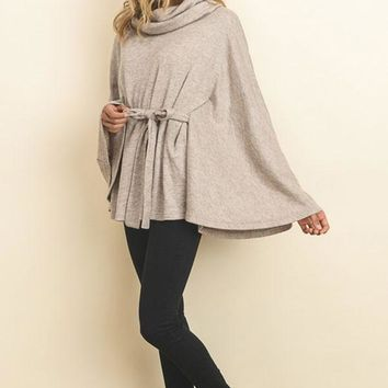 Cowl Neck Front tie poncho - Taupe