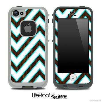 Large Chevron and Walnut Wood V2 Skin for the iPhone 5 or 4/4s LifeProof Case