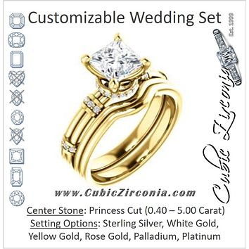 CZ Wedding Set, featuring The Jayla engagement ring (Customizable Princess Cut Style with Under-Halo & Horizontal Band Accents)