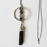 Circle Geometric Necklace, Black Leather Tassel Necklace, Minimalist  Necklace Pendant, Black Cracked Crystal Beads, Boho chic Jewelry