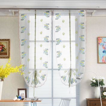 1 PCS Pastoral Tulle Window Roman Curtain Embroidered Sheer For Kitchen Living Room Bedroom Window Curtain Screening Ocean print