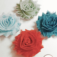 Shabby Flower Magnets, Buy 3 Get One FREE, Choose Flower Color, Fridge Magnet, Handmade Chiffon Magnets, Lamp Shade Magnet, Pop of Color