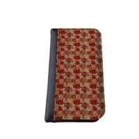 Floral iPhone 5C wallet case MADE IN USA - different designs flip case (Burlap Look)