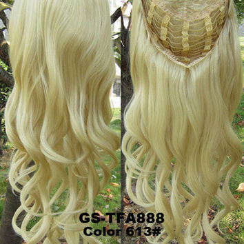 "HOT 3/4 Half Long Curly Wavy Wig Heat Resistant Synthetic Wig Hair 200g 24"" Highlighted Curly Wig Hairpieces with Comb Wig Hair GS-TFA888 613#"