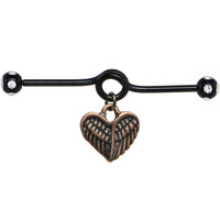 Handcrafted Black Anodized Steel Angelic Heart Dangle Industrial Barbell 40mm