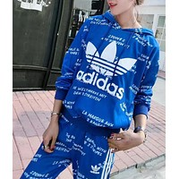 Adidas Fashion Print Hooded Sweater + Trousers Movement Leisure Two pieces Set