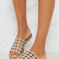 Alisa Nude Large Studded Sliders