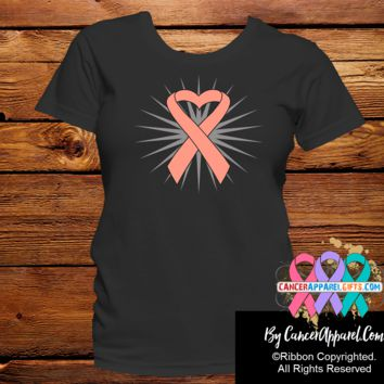 Uterine Cancder Awareness Heart Ribbon Shirts