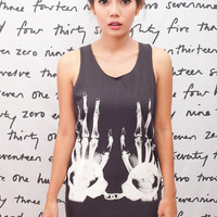 X-RAY Handcuff Skull T Shirt Art Graphic Rock Women Black T-Shirt Vest Tank Top Singlet Sleeveless Size S M