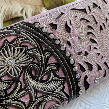 Montana West Tooling Collection Mauve Brown Floral Cutout w/Rhinestones Wristlet