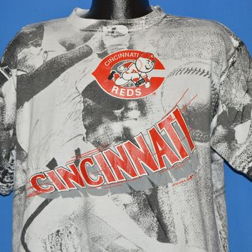 90s Cincinnati Reds All Over Print t-shirt Extra Large