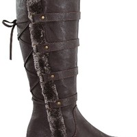 BROWN FAUX LEATHER LACE UP FUR FLAT TALL WINTER BOOTS