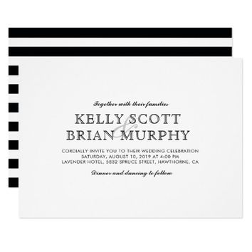 Elegant Black and White Classic Stripes Wedding Card