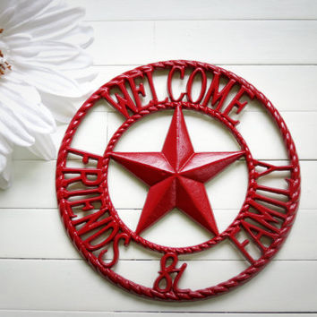 Metal Welcome Sign / Country Decoration / Primitive Decor / Red / Country Star Decor / Primitive Welcome Signs / Outdoor Welcome Sign /