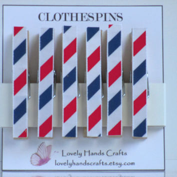 Ribbon Decorative Clothespin Red, White & Blue - Set of 6