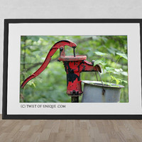 Old Waterpump Photography/ OPEN EDITION prints / Plants and Urban Decay Photography / Red, Green, Black, Gray