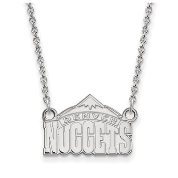 NBA Denver Nuggets Sm Pendant Necklace in 14k White Gold - 18 Inch