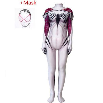 2018 New Spiderman 3D Print Jamie Gwen Cosplay Costume Spandex White Spiderman Costume Halloween Party Female Zentai Jumpsuits