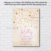 Confetti Birthday Invitation for any age 1st 2nd 3rd 4th 5th 6th 7th kids 30th 40th sprinkle blackground Design party invite - card 1171