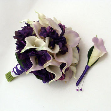 Real Touch Calla Lily Hydrangea Bridal Bouquet Groom's Boutonniere in Lilac, White and Purple