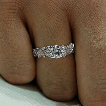 14K White Gold Diamond Engagement Ring – Gold Leaf  Design - Wedding - Antique