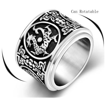 Dragon, White Tiger, Suzaku, basaltic Four Ancient mythical beasts of China Cool Rotation Ring for Men