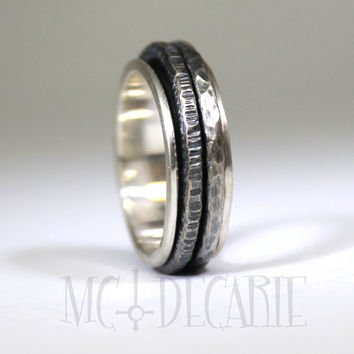 Small spinner ring in solid sterling silver, 2 round spinners,  unisex brushed spinner ring you can personalize on the spinner