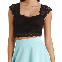 CAP SLEEVE SCALLOPED LACE CROP TOP