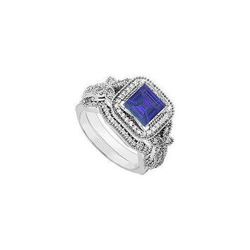 14K White Gold Blue Sapphire & Diamond Engagement Ring with Wedding Band Sets 0.80 CT TGW