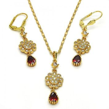 Gold Layered 10.283.0010 Necklace and Earring, Flower and Teardrop Design, with White and Garnet Cubic Zirconia, Polished Finish, Golden Tone