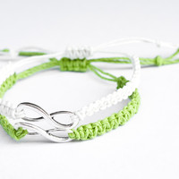 Infinity Couples Bracelets Lime Green and White