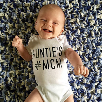 Baby Boy Onesuit, Baby Boy Outfit, Newborn Onesuit, Boys Clothes, Mom's #MCM Man Crush Monday, AUNTIE's MCM Instagram, Hashtag Bodysuit,