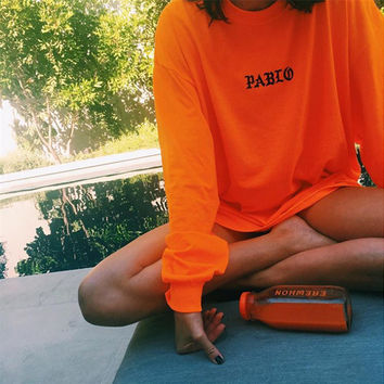 Orange u0026quot;Pablou0026quot; Letter Print Long Sleeve from brooke