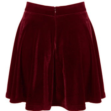 Burgundy High Waist Velvet Skater Skirt