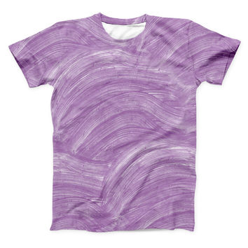 The Purple Brush Strokes ink-Fuzed Unisex All Over Full-Printed Fitted Tee Shirt