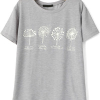 Grey Short Sleeve Dandelion Print T-Shirt