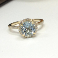 Aquamarine Engagement Ring 14K Yellow Gold!7mm Round Cut Blue Aquamarine,Halo Diamond Engagement Ring,Wedding Bridal Ring,Claw Prongs