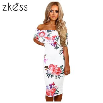 Zkess Elegant Floral Print Midi Dress Women off shoulder Bodycon Dress Vestidos Summer Knee Length Sexy Party Dresses LC61536
