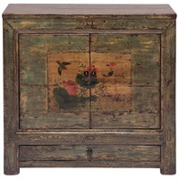 Mongolian Lotus and Sparrow Two-Door Painted Chest
