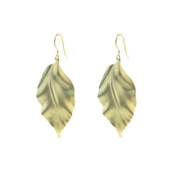 Fronay Co, Satin Gold Greek Leaf Earring, 2""