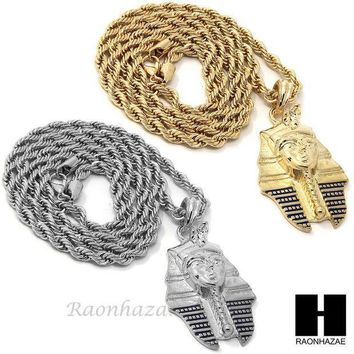 Mens Hip Hop Iced Out Pharaoh King Tut Cz Pendant 24' Rope Chain Necklace N029