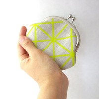 Frame Coin Purse - citron grid on organic natural linen