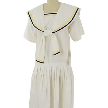 1980s 20s Inspired White Dropped Waist Sailor Dress