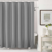 """Royal Bath 2 in 1 Fabric Front Shower Curtain with Peva Non-Toxic Liner Backing - Silver (72"""" x 72"""")"""