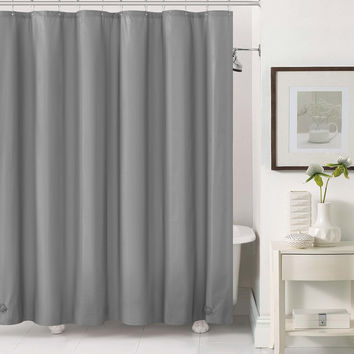 "Royal Bath 2 in 1 Fabric Front Shower Curtain with Peva Non-Toxic Liner Backing - Silver (72"" x 72"")"