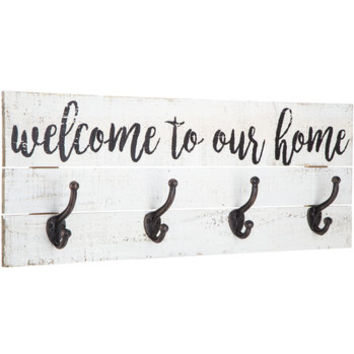 Welcome To Our Home Wood Wall Decor with Hooks | Hobby Lobby | 1469287