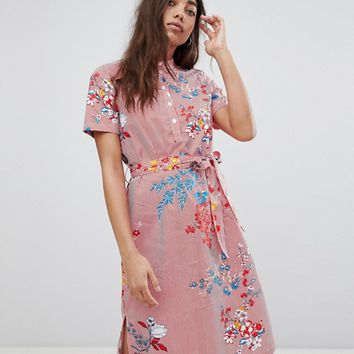 Noisy May Floral Printed Shirt Dress at asos.com